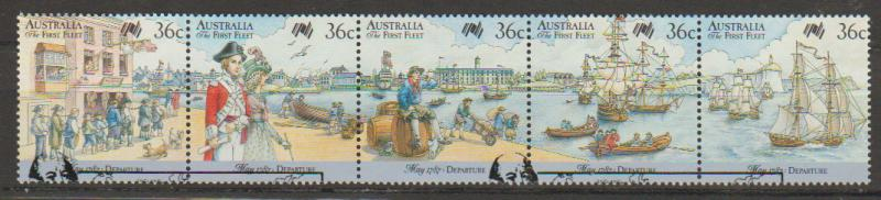 Australia SG 1059a  VFU strip of 5  SG 1059 - 1063 with First Day cancel