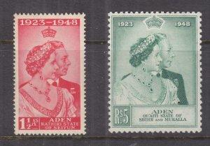 ADEN, KATHIRI STATE, 1949 Silver Wedding pair, mnh.