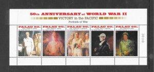 PALAU #380  50TH ANNIVERSARY OF WWII  PORTRAITS  MNH