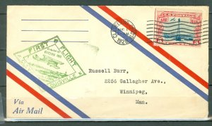 US 1928 1st AIRMAL FLIGHT..CAM 16...AUG. 1 CLEVELAND-LOUIDVILLE-WINNIPEG