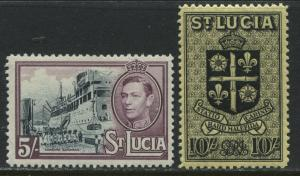 St. Lucia KGVI 1938 5/ and 10/ unmounted mint NH