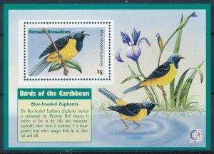 [108795] Grenada Grenadines 1995 Birds Blue Hooded Euphonia Flora Sheet MNH