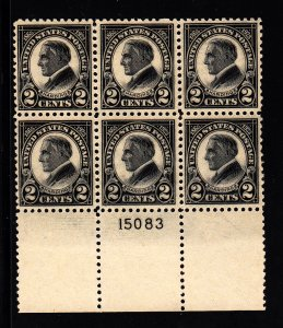 U.S. #610 F/VF OG Plate block of 6