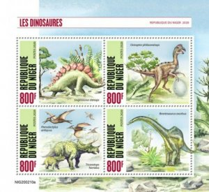 Niger - 2020 Dinosaurs on Stamps - 4 Stamp Sheet - NIG200210a
