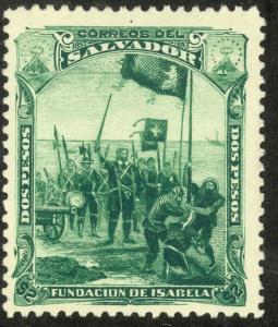EL SALVADOR 1893 2pesos COLUMBUS Founding the City of Isabela Pictorial Sc 86 MH