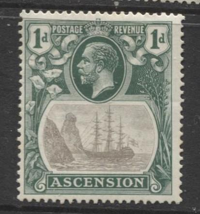 ASCENSION- Scott 11 - Seal of Colony -1924 - MVLH - Single 1d Stamp