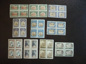 Stamps - Cuba - Scott# 500-509 - Mint Hinged Set of 10 Stamps in Blocks