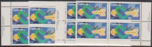 Canada USC #1045 Mint MS Imprint Blocks VF-NH UN International Youth Year