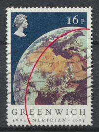 Great Britain SG 1254 - Used bluer sky shade - Greenwich Meridian