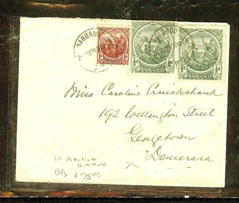 BARBADOS (P2909B) 1910 1/2DX2+1D COVER TO BRITISH GUIANA, ARRIVAL B/S