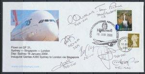 Aviation – Qantas FFC Inaugural A380  SYD- SIN- LHR 2009 see scans