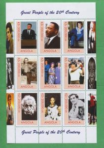 Great People of the 20th Century Kennedy Elvis Einstein MNH Angola  Stamps - E9