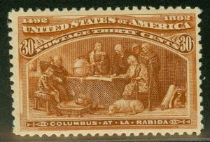 US #239 30¢ orange brown, og, LH, VF, PF certificate,