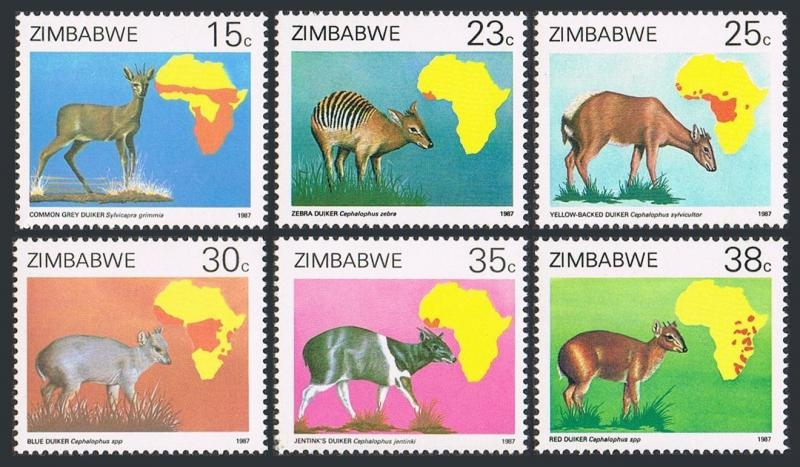 Zimbabwe 550-555,MNH.Michel 368-373. Duikers and population maps 1987.