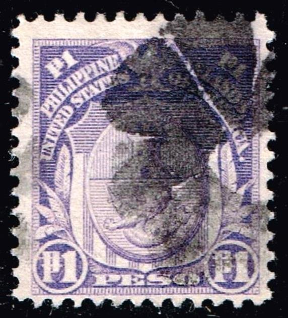 Philippines Stamp # 260 1P 1906-13 Double Line Water Mark 12P. used thin