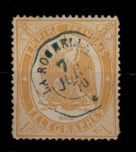 FRANCE - TELEGRAPHES - n°7 1fr ORANGE OBLITÉRÉ DE LA ROCHELLE LE 7 JUILLET 1870