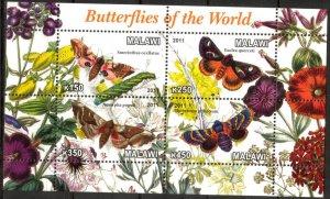 Malawi 2011 Butterflies (3) MNH Cinderella !