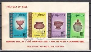Philippines, Scott cat. 1168-1171. Archeology issue. First day cover.