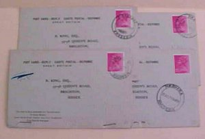 RHODESIA   FROM ENGLAND 1971 MESSAGE & REPLY ATTACHED 4 DIFF. TOWNS