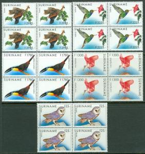 Suriname: 1993-95. Scott #731-35 Oiseaux. Haute Values. 4 Ensembles VF MNH Chat