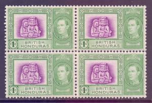 Br Honduras Scott 115 - SG150, 1938 George VI 1c Block of 4 MH*