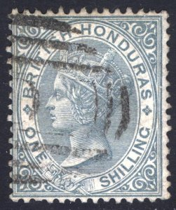 Br Honduras 1887 1s Grey Wmk Crown CA Scott 17 SG 22 VFU Cat $200