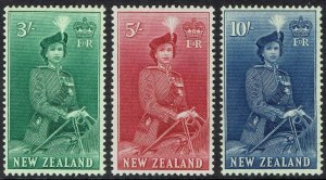 NEW ZEALAND 1953 QEII HORSE 3/- 5/- AND 10/- MNH **