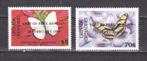 Grenada Grenadines 1986 butterflies insects fauna 2v overprint MNH