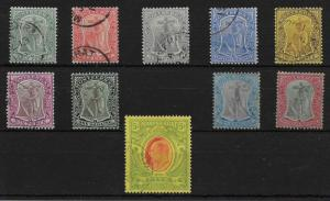 MONTSERRAT SG35/47 1908-14 DEFINITIVE SET USED