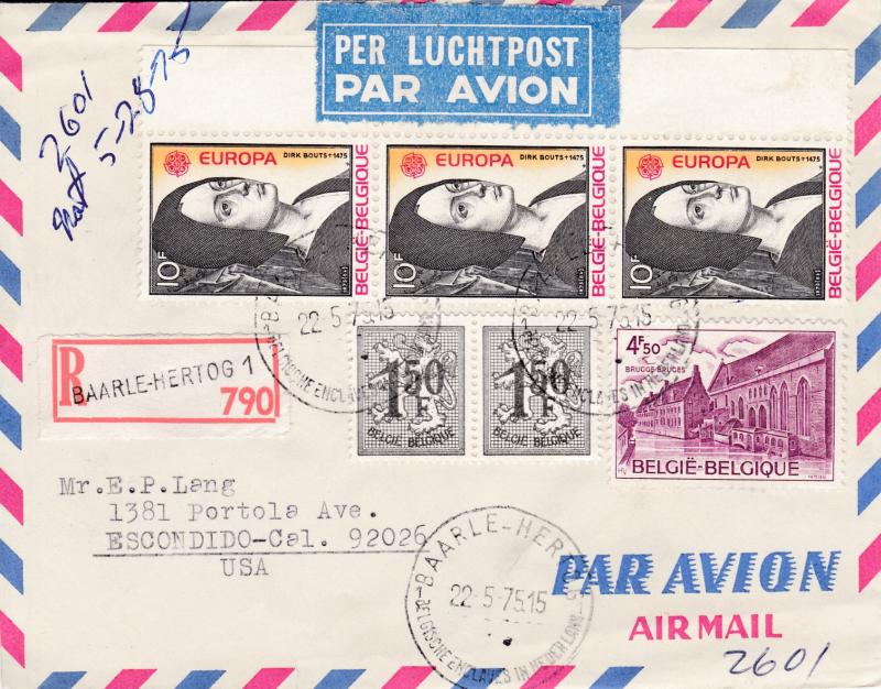Belgium 1975 Registered Airmail Cover with Europa issue. Baarle-Hartog to Calif.