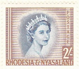RHODESIA & NYASALAND 1954 EQII 2/- Deep Blue & Yellow-Brown SG11 MH