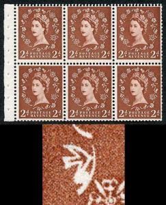 SB78c 2d Light Red-Brown Wmk Edward Upright Daffodil Flaw Pane of 6 U/M