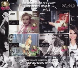 Chad 2012 MARILYN MONROE B.BARDOT S.LOREN E.TAYLOR s/s Perforated Mint (NH)