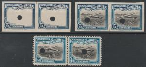 MOZAMBIQUE COMPANY 1935 AIR ROUTE PROGRESSIVE PROOFS