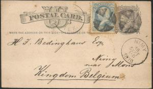 TEXAS BEXAR COUNTY (1878 San Antonio, Postal Card Plus Stamp to Belgium)