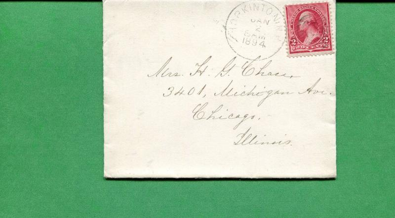New Hampshire Cover - Hopkinton 1894 Target Cancel  Duplex on Back  S8538