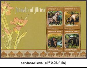 TANZANIA - 2013 ANIMALS OF AFRICA ZEBRA HIPPO RHINO - MIN. SHEET MINT NH
