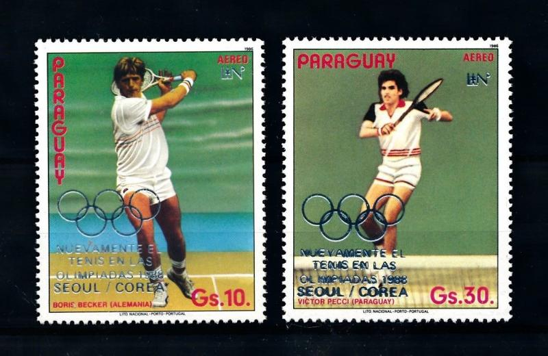[92266] Paraguay 1987 Olympic Games Seoul Tennis Becker Silver OVP MNH