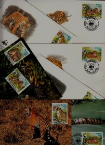 Laos 8 covers/cards WWF-84/Tigers