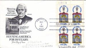 1981, 150th Anniv. Saving & Loans, Block/4, Artmaster, FDC (E10831)