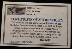 Princess Diana Mini-sheet issued on 21st Anniversary of her birth