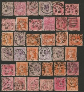 VICTORIA : Postmarks Melbourne single ring cds collection Nov 1895-Dec 1899 .
