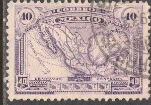MEXICO 647, 40¢ MAP OF MEXICO wmk USED. F-VF. (406)