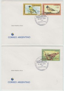 ARGENTINA 1995 BIRDS Sc 1835, 1876 & 1880 ON TWO FD COVERS F,VF SCV$70.00++