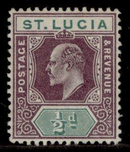 ST. LUCIA EDVII SG64, ½d dull purple & green, LH MINT. Cat £12. ORDINARY PAPER