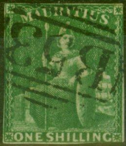 Mauritius 1861 1s Yellow-Green SG35 Good Used