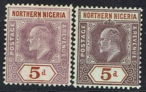 NORTHERN NIGERIA 1905 KEVII 5D BOTH PAPERS WMK MULTI CROWN CA