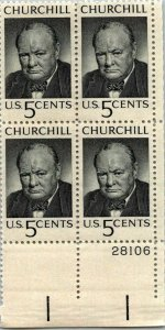 Winston Churchill Stamp US 5¢ stamp plate block vintage