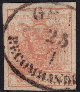 Austria - 1854 - Scott #3e - used - GRAZ RECOMMANDIRT oval pmk