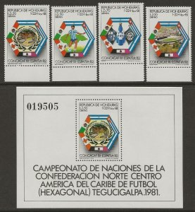 Honduras 1981 Soccer Cup #C703-C706 Set + #C707 Sheet VF-NH CV 8.25
